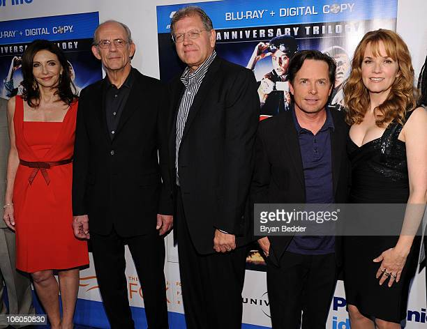 Actors Mary Steenburgen Christopher Lloyd Robert Zemeckis Michael J Fox and Lea Thompson attend the 'Back to the Future' 25th anniversary trilogy...