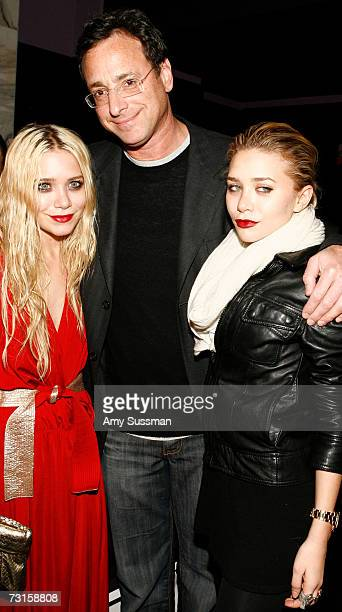 Actors MaryKate Olsen Bob Saget and Ashley Olsen attend the DVD release party of 'Farce of the Penguins' at Tenjune on January 30 2007 in New York...