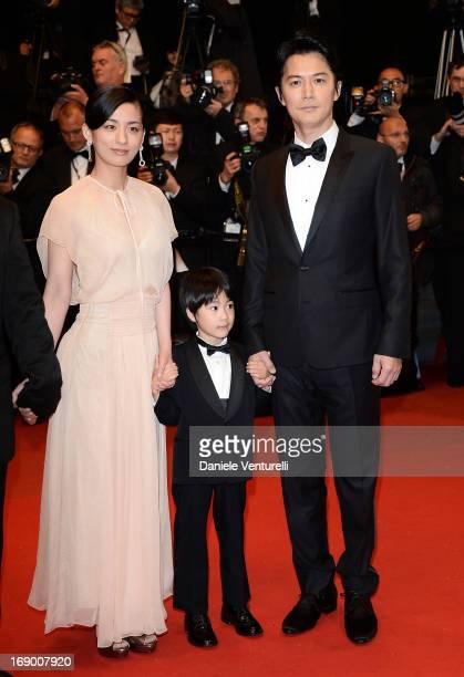 Actors Masaharu Fukuyama Keita Ninomiya and Machiko Ono attend the Premiere of 'Soshite Chichi Ni Naru' at Palais des Festivals during The 66th...