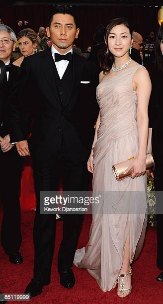 Actors Masahiro Motoki and Ryoko Hirosue from the movie 'Departures' arrive at the 81st Annual Academy Awards held at Kodak Theatre on February 22...