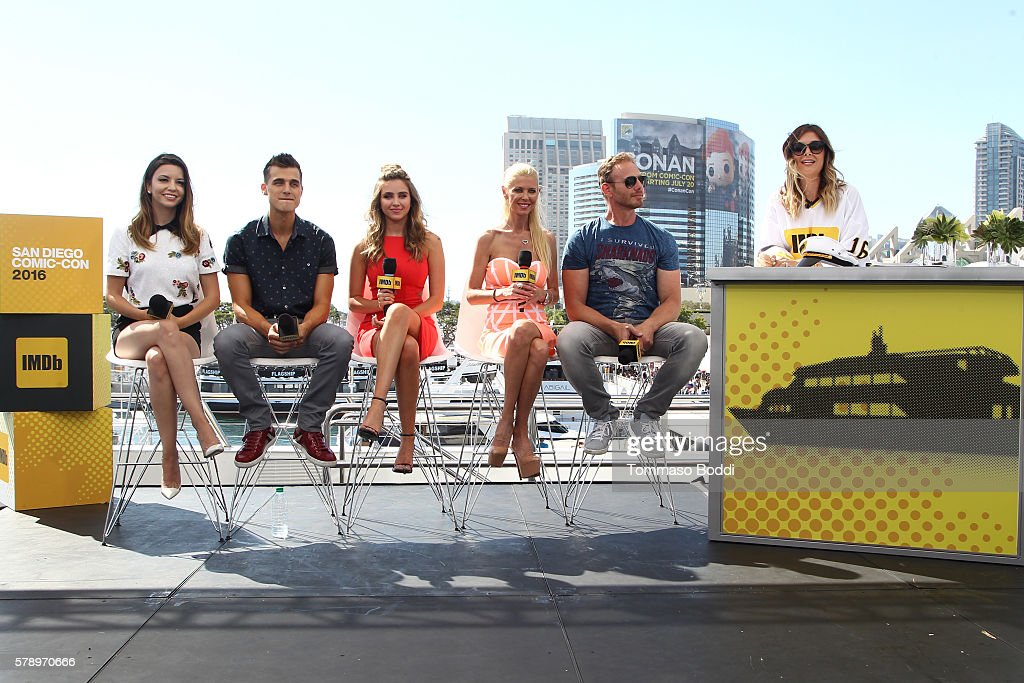 Actors Masiela Lusha Cody Linley Ryan Newman Tara Reid and Ian Ziering of Sharknado attend the IMDb Yacht at San Diego ComicCon 2016 Day Two at The...