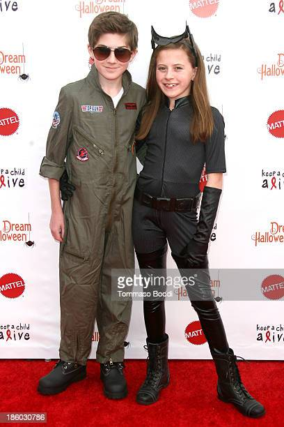 Actors Mason Cook and Georgia Cook attend the Keep A Child Alive's 20th annual Dream Halloween held at the Barker Hangar on October 26 2013 in Santa...