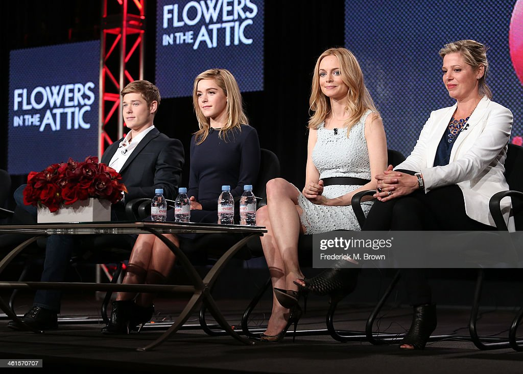 Actors Mason Dye, Kiernan Shipka, Heather Graham and screenwriter Kayla Alpert speak onstage during the 'Lifetime - Flowers in the Attic' panel discussion at the Lifetime/A&E Network' portion of the 2014 Winter Television Critics Association tour at the Langham Hotel on January 9, 2014 in Pasadena, California.