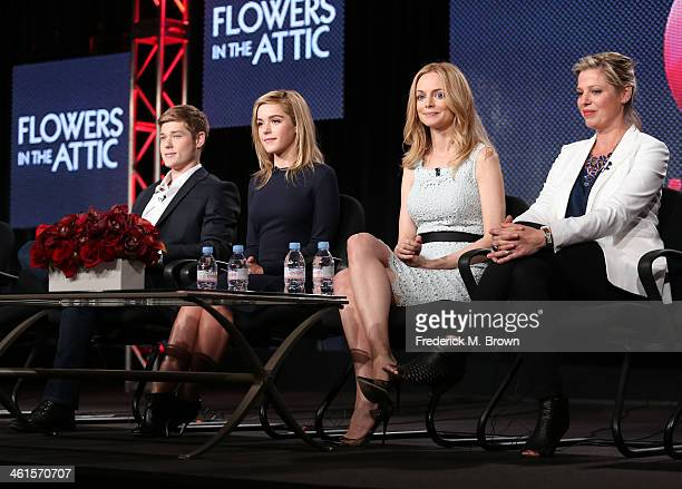Actors Mason Dye Kiernan Shipka Heather Graham and screenwriter Kayla Alpert speak onstage during the 'Lifetime Flowers in the Attic' panel...