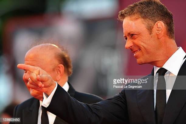 Actors Massimo Boldi and Rocco Siffredi attend the 'Tinker Tailor Soldier Spy' premiere at the Palazzo del Cinema during the 68th Venice Film...