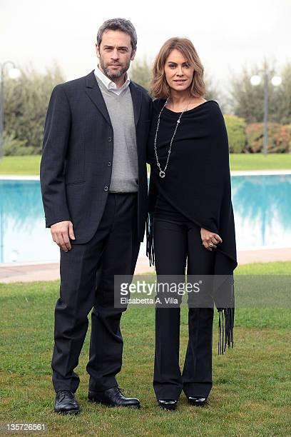 Actors Massimo Poggio and Elena Sofia Ricci attend 'Che Dio Ci Aiuti' TV Series RAI photocall at Antico Tiro Al Volo on December 13 2011 in Rome Italy