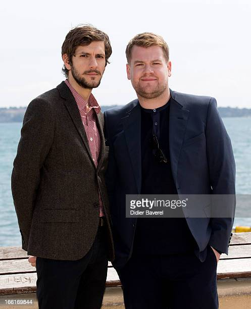Actors Mathew Baynton and James Corden pose during a photocall for the TV Series 'The Wrong Mans' at MIP TV 2013 on April 9 2013 in Cannes France