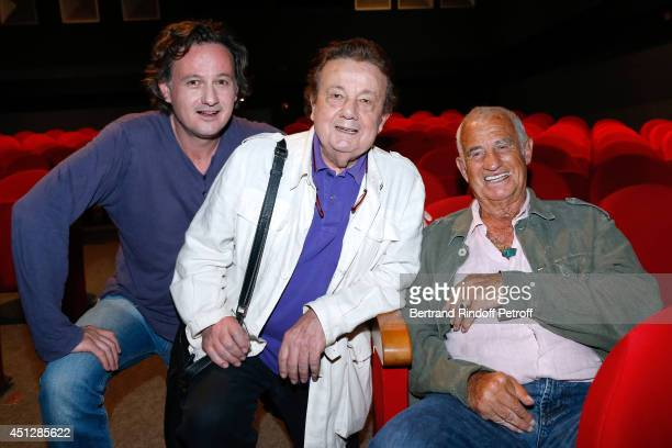 Actors Mathias Marechal his father Marcel Marechal and JeanPaul Belmondo attend 'Le Cavalier seul' Theater Play at Theatre 14 on June 26 2014 in...