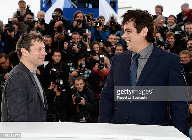 Actors Mathieu Amalric and Benicio Del Toro attend the 'Jimmy P ' Photocall during the 66th Annual Cannes Film Festival at the Palais des Festivals...