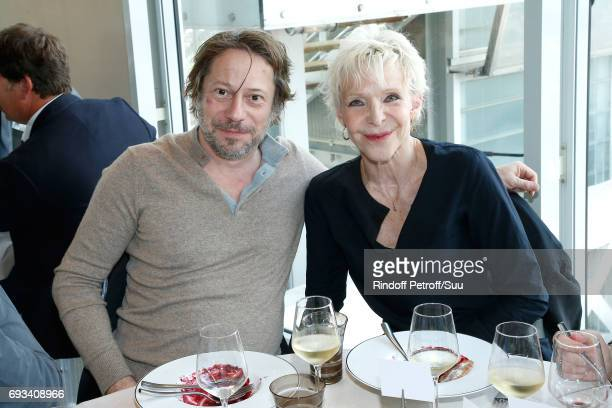 Actors Mathieu Amalric and Tonie Marshall attend the 'France Television' Lunch during the 2017 French Tennis Open Day Eleven at Roland Garros on June...