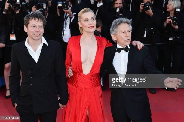 Actors Mathieu Amalric Emmanuelle Seigner and director Roman Polanski attend the 'La Venus A La Fourrure' premiere during The 66th Annual Cannes Film...