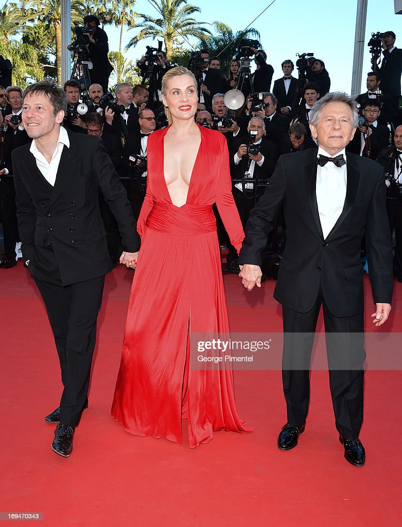 Actors <a gi-track='captionPersonalityLinkClicked' href=/galleries/search?phrase=Mathieu+Amalric&family=editorial&specificpeople=612979 ng-click='$event.stopPropagation()'>Mathieu Amalric</a>, <a gi-track='captionPersonalityLinkClicked' href=/galleries/search?phrase=Emmanuelle+Seigner&family=editorial&specificpeople=240590 ng-click='$event.stopPropagation()'>Emmanuelle Seigner</a> and director <a gi-track='captionPersonalityLinkClicked' href=/galleries/search?phrase=Roman+Polanski&family=editorial&specificpeople=207150 ng-click='$event.stopPropagation()'>Roman Polanski</a> attends the Premiere of 'La Venus A La Fourrure' at The 66th Annual Cannes Film Festival on May 25, 2013 in Cannes, France.