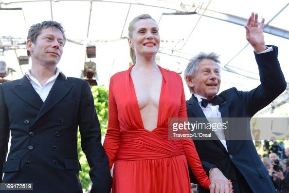 Actors Mathieu Amalric Emmanuelle Seigner and director Roman Polanski attend the 'La Venus A La Fourrure' premiere during The 66th Annual Cannes Film...