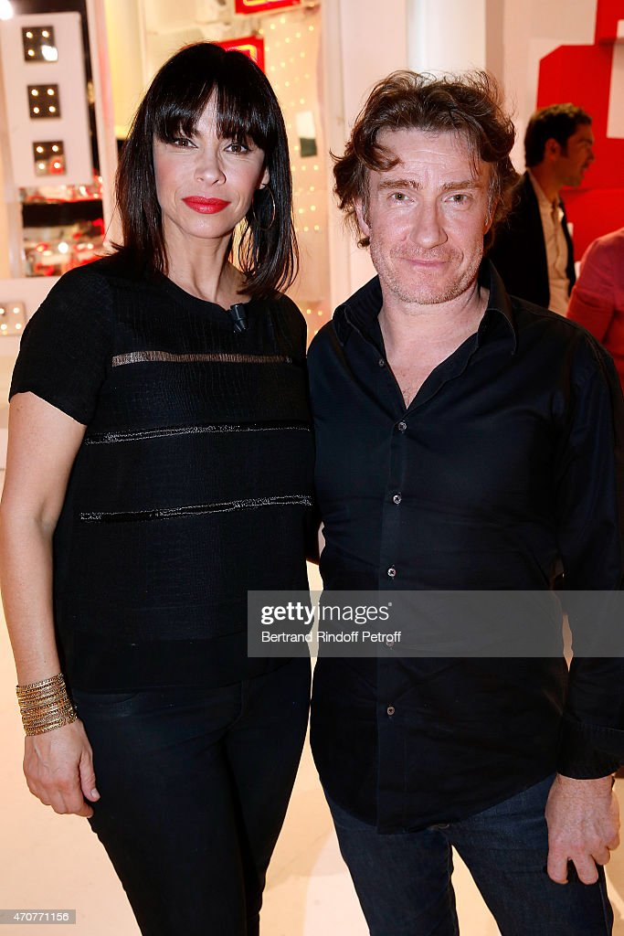 Actors Mathilda May and Thierry fremont attend the 'Vivement Dimanche' French TV at Pavillon Gabriel on April 22, 2015 in Paris, France.
