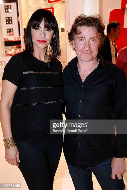 Actors Mathilda May and Thierry fremont attend the 'Vivement Dimanche' French TV at Pavillon Gabriel on April 22 2015 in Paris France