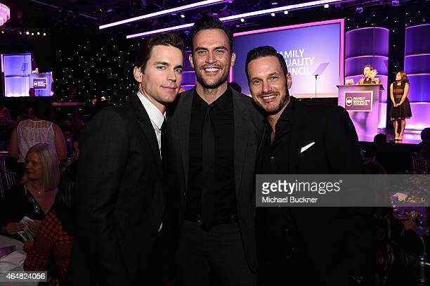 Actors Matt Bomer Cheyenne Jackson and Jason Landau attend the Family Equality Council's 2015 Los Angeles Awards dinner at The Beverly Hilton Hotel...
