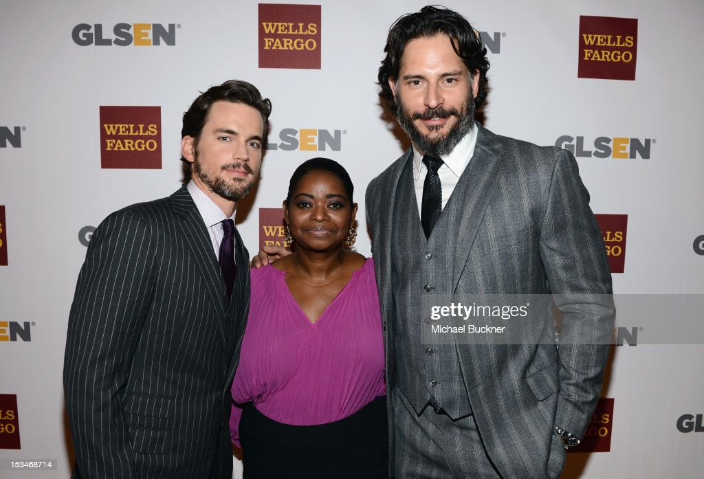 Actors <a gi-track='captionPersonalityLinkClicked' href=/galleries/search?phrase=Matt+Bomer&family=editorial&specificpeople=2960058 ng-click='$event.stopPropagation()'>Matt Bomer</a>, <a gi-track='captionPersonalityLinkClicked' href=/galleries/search?phrase=Octavia+Spencer&family=editorial&specificpeople=2538115 ng-click='$event.stopPropagation()'>Octavia Spencer</a> and <a gi-track='captionPersonalityLinkClicked' href=/galleries/search?phrase=Joe+Manganiello&family=editorial&specificpeople=2516889 ng-click='$event.stopPropagation()'>Joe Manganiello</a> arrive at the 8th Annual GLSEN Respect Awards held at Beverly Hills Hotel on October 5, 2012 in Beverly Hills, California.
