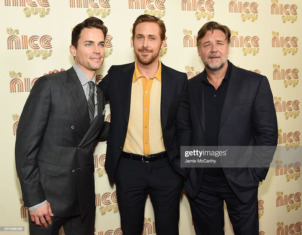 Actors Matt Bomer, Ryan Gosling and Russell Crowe attend 'The Nice Guys' New York Screening at Metrograph on May 12, 2016 in New York City.