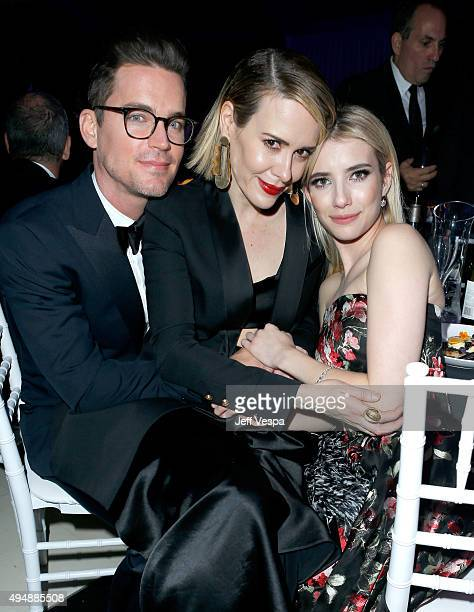 Actors Matt Bomer Sarah Paulson and Emma Roberts attend amfAR's Inspiration Gala Los Angeles at Milk Studios on October 29 2015 in Hollywood...