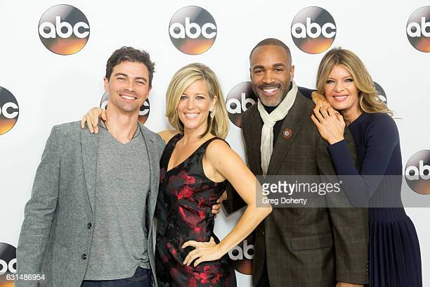 Actors Matt Cohen Laura Wright Donnell Turner and Michelle Stafford arrive for the 2017 Winter TCA Tour for Disney/ABC at The Langham Hotel on...