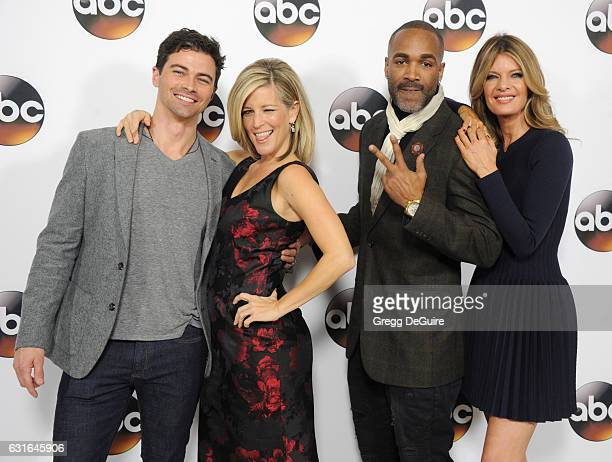 Actors Matt Cohen Laura Wright Donnell Turner and Michelle Stafford arrive at the 2017 Winter TCA Tour Disney/ABC at the Langham Hotel on January 10...