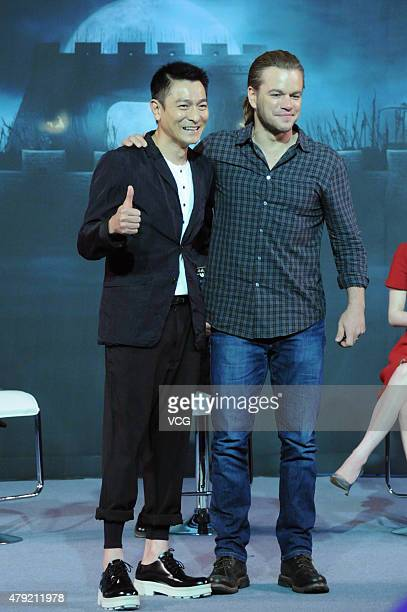 Actors Matt Damon and Andy Lau attend 'The Great Wall' press conference at Park Hyatt Hotel on July 2 2015 in Beijing China