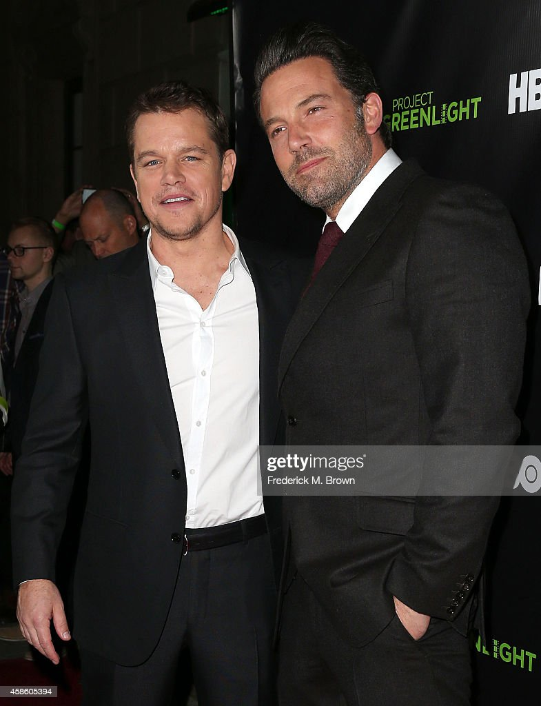 Actors Matt Damon (L) and Ben Affleck attend HBO Reveals Winner of 'Project Greenlight' Season 4 at BOULEVARD3 on November 7, 2014 in Los Angeles, California.