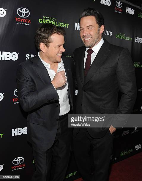 Actors Matt Damon and Ben Affleck attend HBO Reveals Winner of 'Project Greenlight' Season 4 at BOULEVARD3 on November 7 2014 in Los Angeles...