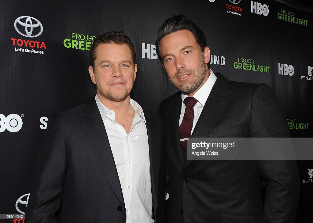 Actors <a gi-track='captionPersonalityLinkClicked' href=/galleries/search?phrase=Matt+Damon&family=editorial&specificpeople=202093 ng-click='$event.stopPropagation()'>Matt Damon</a> and <a gi-track='captionPersonalityLinkClicked' href=/galleries/search?phrase=Ben+Affleck&family=editorial&specificpeople=201856 ng-click='$event.stopPropagation()'>Ben Affleck</a> attend HBO Reveals Winner of 'Project Greenlight' Season 4 at BOULEVARD3 on November 7, 2014 in Los Angeles, California.