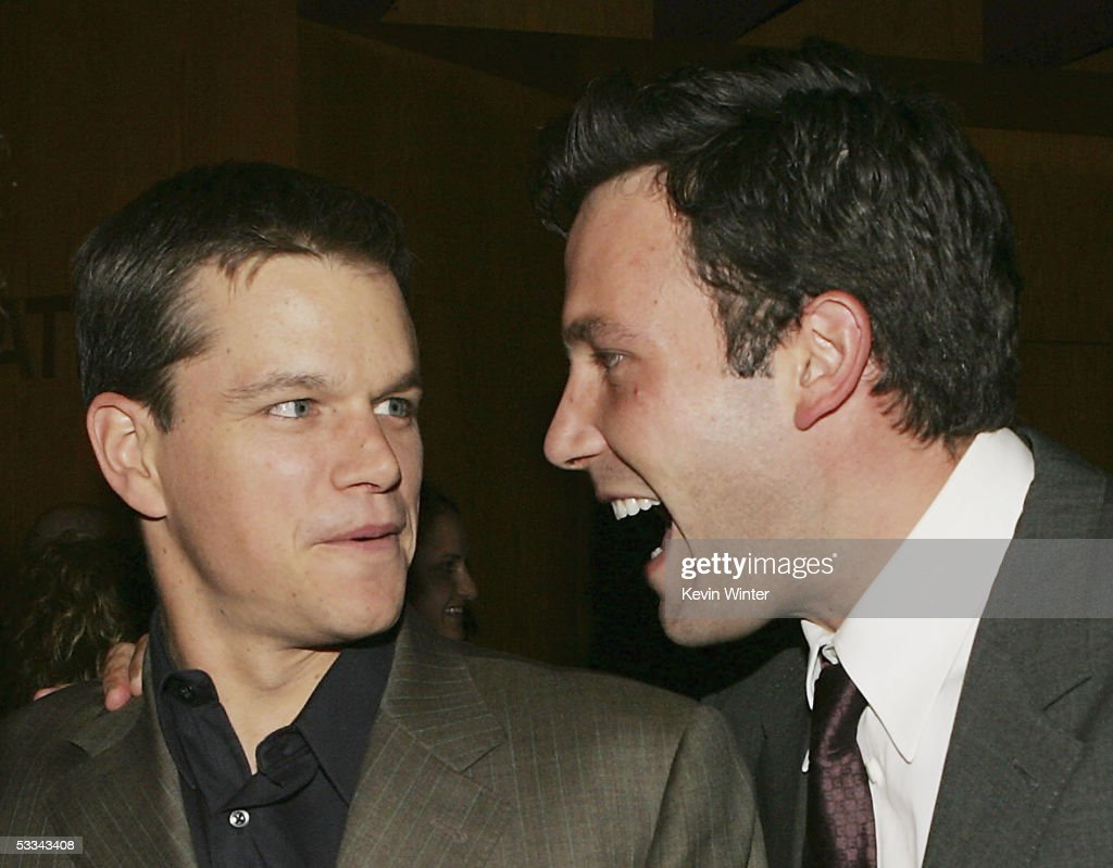 Actors <a gi-track='captionPersonalityLinkClicked' href=/galleries/search?phrase=Matt+Damon&family=editorial&specificpeople=202093 ng-click='$event.stopPropagation()'>Matt Damon</a> (L) and <a gi-track='captionPersonalityLinkClicked' href=/galleries/search?phrase=Ben+Affleck&family=editorial&specificpeople=201856 ng-click='$event.stopPropagation()'>Ben Affleck</a> talk at the premiere of Dimension Film's 'The Brothers Grimm' at the Directors Guild Theater on August 8, 2005 in Los Angeles, California.