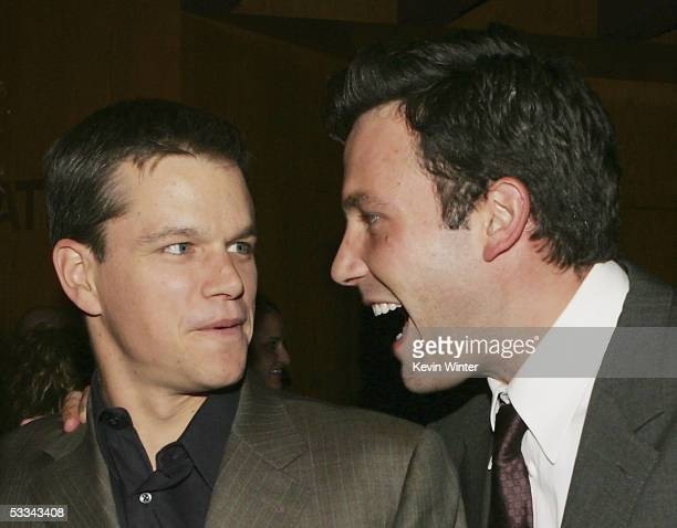 Actors Matt Damon and Ben Affleck talk at the premiere of Dimension Film's 'The Brothers Grimm' at the Directors Guild Theater on August 8 2005 in...
