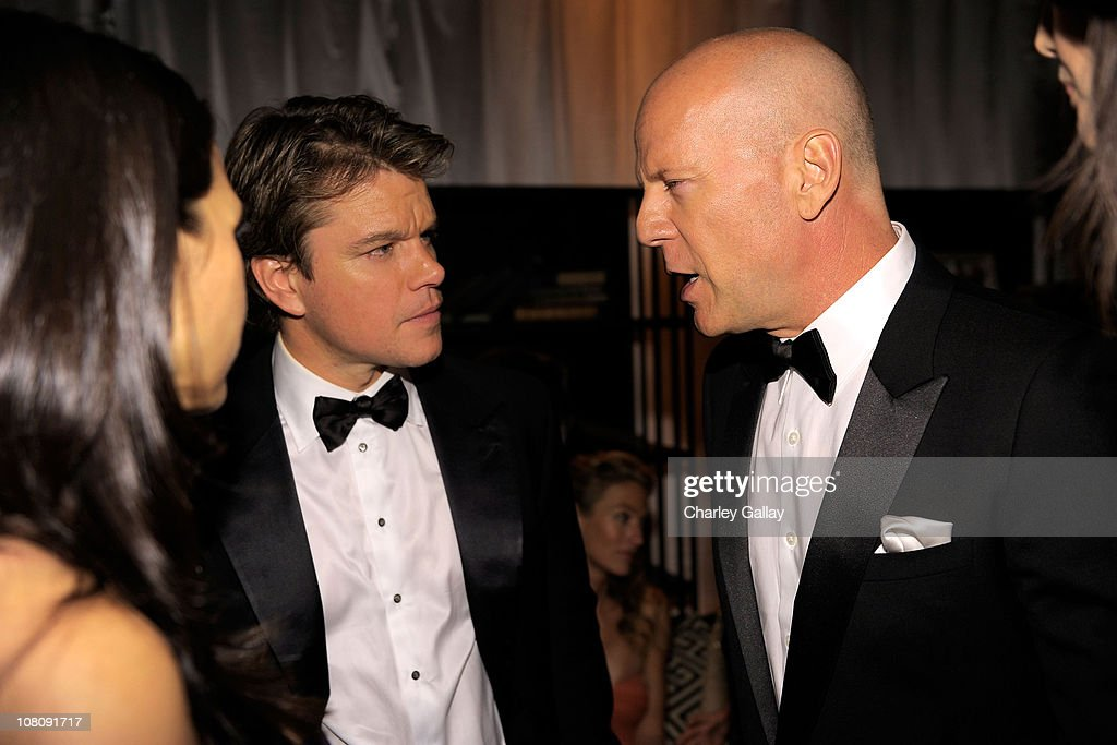 Actors Matt Damon and Bruce Willis attend The Weinstein Company and Relativity Media's 2011 Golden Globe After Awards Party presented by Marie Claire held at The Beverly Hilton hotel on January 16, 2011 in Beverly Hills, California.