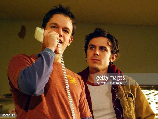 Actors Matt Damon and Casey Affleck during rehearsals for the second cast of the play 'This is our Youth' at the Garrick Theatre in Charing Cross...