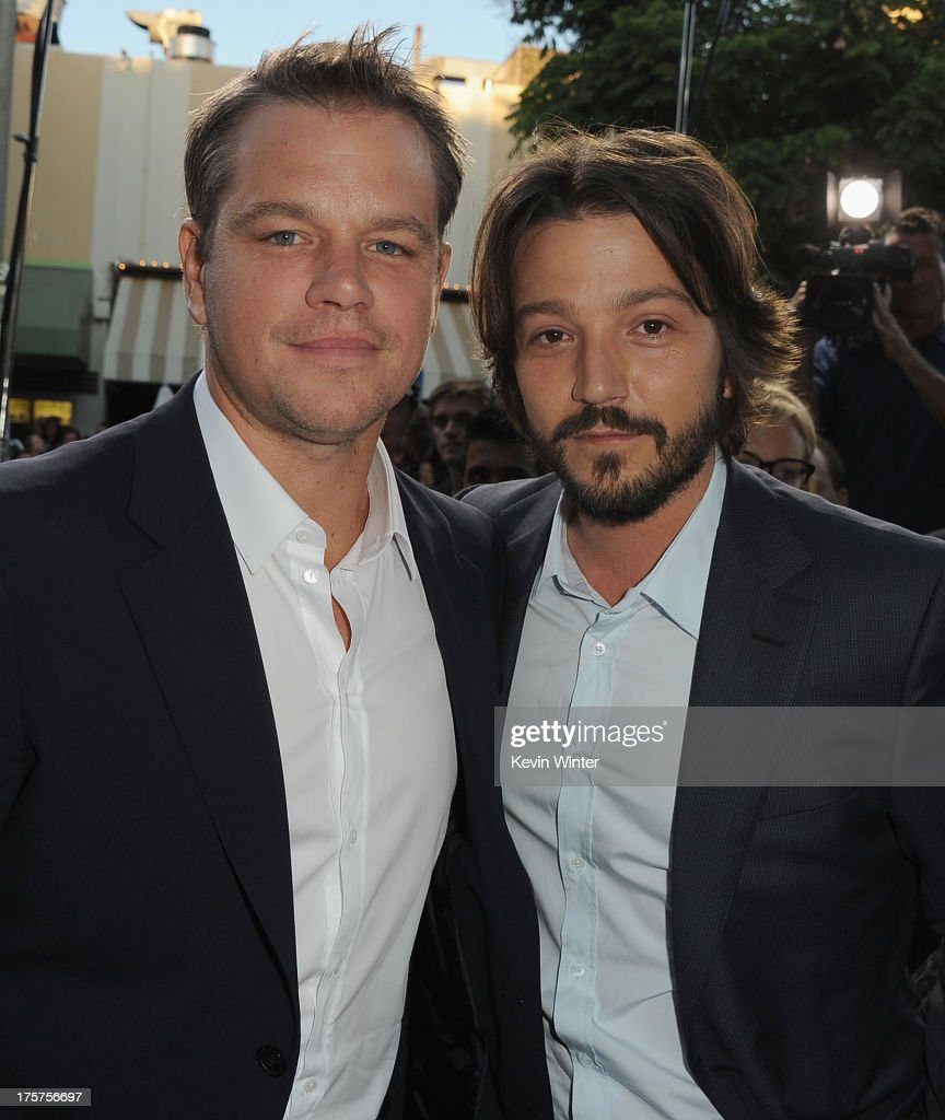 Actors <a gi-track='captionPersonalityLinkClicked' href=/galleries/search?phrase=Matt+Damon&family=editorial&specificpeople=202093 ng-click='$event.stopPropagation()'>Matt Damon</a> and <a gi-track='captionPersonalityLinkClicked' href=/galleries/search?phrase=Diego+Luna&family=editorial&specificpeople=213511 ng-click='$event.stopPropagation()'>Diego Luna</a> attend the premiere of TriStar Pictures' 'Elysium' at Regency Village Theatre on August 7, 2013 in Westwood, California.