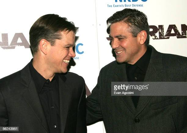 Actors Matt Damon and George Clooney attend the premiere of 'Syriana' at the Loews Lincoln Center theatre November 20 2005 in New York City