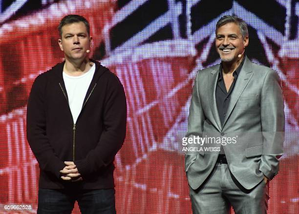 Actors Matt Damon and George Clooney speak onstage at CinemaCon 2017 Paramount Pictures Presentation Highlighting Its Summer of 2017 and Beyond at...