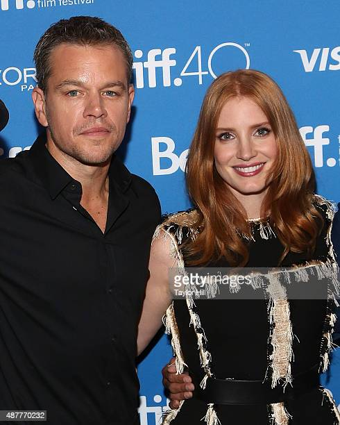 Actors Matt Damon and Jessica Chastain attends the photocall for 'The Martian' at TIFF Bell Lightbox during the 2015 Toronto International Film...