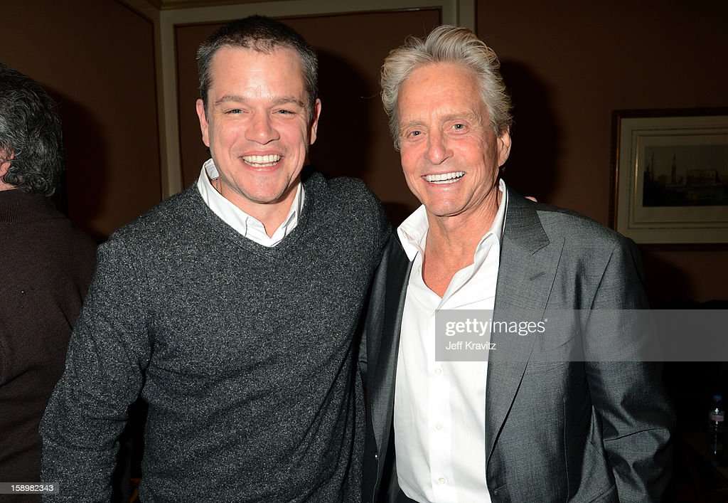 Actors <a gi-track='captionPersonalityLinkClicked' href=/galleries/search?phrase=Matt+Damon&family=editorial&specificpeople=202093 ng-click='$event.stopPropagation()'>Matt Damon</a> and <a gi-track='captionPersonalityLinkClicked' href=/galleries/search?phrase=Michael+Douglas&family=editorial&specificpeople=171111 ng-click='$event.stopPropagation()'>Michael Douglas</a> attend the HBO Winter 2013 TCA Panel at The Langham Huntington Hotel and Spa on January 4, 2013 in Pasadena, California.