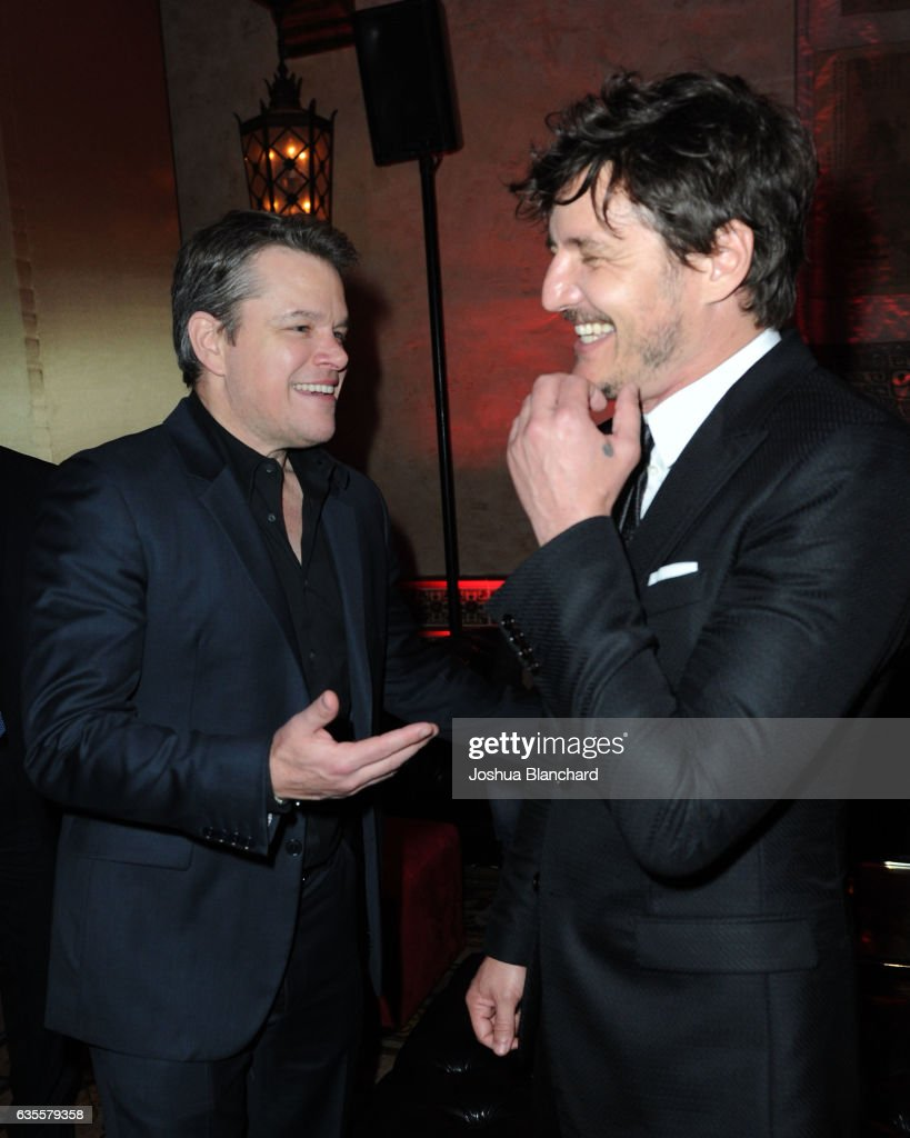 Actors Matt Damon (L) and Pedro Pascal attend the after party premiere of Universal Pictures' 'The Great Wall' After Party on February 15, 2017 in Hollywood, California.