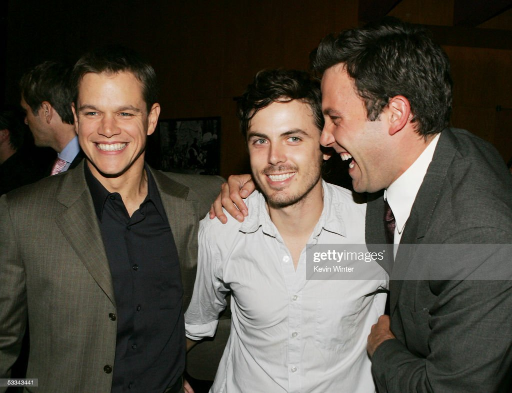 Actors Matt Damon (L-R), Casey Affleck and Ben Affleck talk at the premiere of Dimension Film's 'The Brothers Grimm' at the Directors Guild Theater on August 8, 2005 in Los Angeles, California.