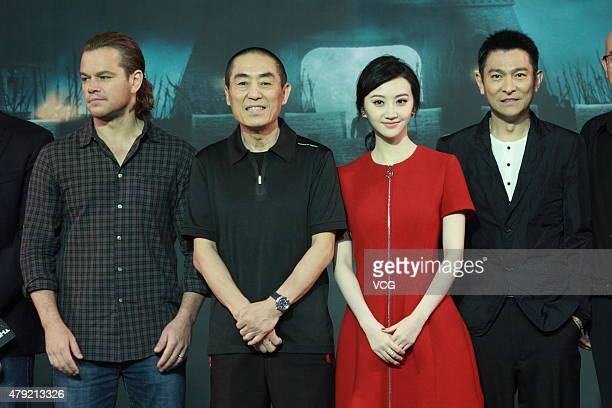 Actors Matt Damon director Zhang Yimou Jing Tian and Andy Lau attend 'The Great Wall' press conference at Park Hyatt Hotel on July 2 2015 in Beijing...