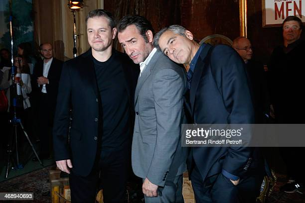 Actors Matt Damon Jean Dujardin and George Clooney attend the 'Monuments Men' Photocall at Hotel Le Bristol on February 12 2014 in Paris France