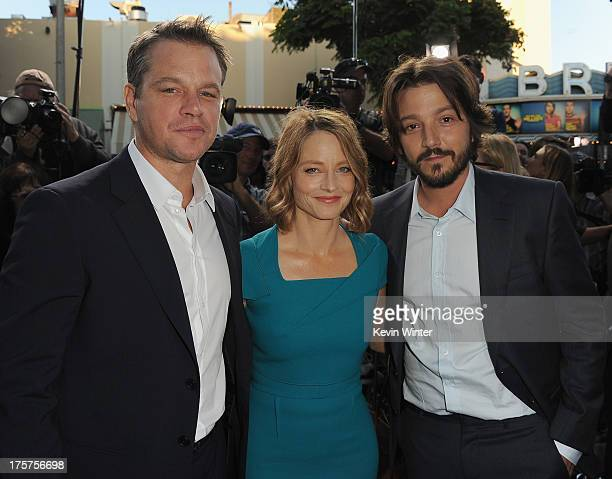 Actors Matt Damon Jodie Foster and Diego Luna attend the premiere of TriStar Pictures' 'Elysium' at Regency Village Theatre on August 7 2013 in...