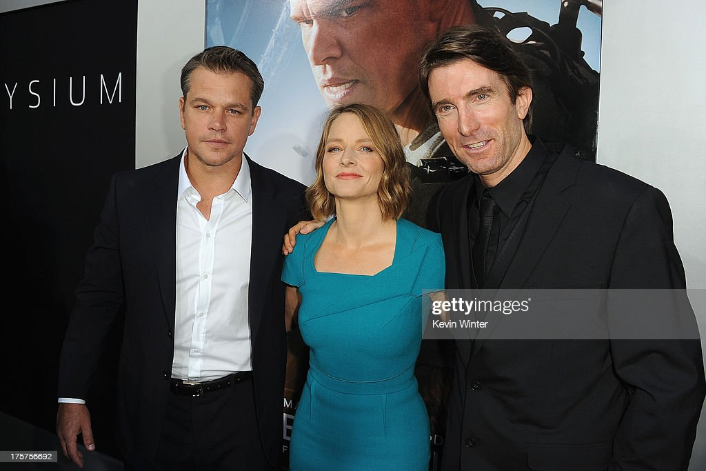 Actors <a gi-track='captionPersonalityLinkClicked' href=/galleries/search?phrase=Matt+Damon&family=editorial&specificpeople=202093 ng-click='$event.stopPropagation()'>Matt Damon</a>, <a gi-track='captionPersonalityLinkClicked' href=/galleries/search?phrase=Jodie+Foster&family=editorial&specificpeople=204488 ng-click='$event.stopPropagation()'>Jodie Foster</a> and <a gi-track='captionPersonalityLinkClicked' href=/galleries/search?phrase=Sharlto+Copley&family=editorial&specificpeople=5998632 ng-click='$event.stopPropagation()'>Sharlto Copley</a> attend the premiere of TriStar Pictures' 'Elysium' at Regency Village Theatre on August 7, 2013 in Westwood, California.