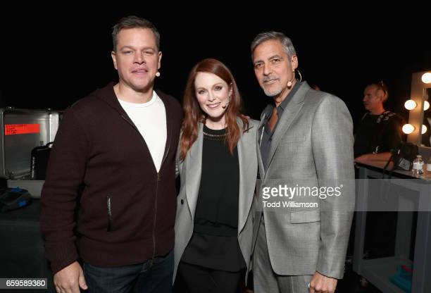 Actors Matt Damon Julianne Moore and George Clooney at CinemaCon 2017 Paramount Pictures Presentation Highlighting Its Summer of 2017 and Beyond at...