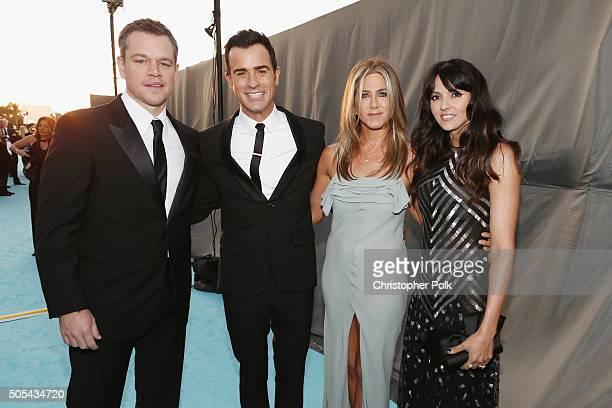 Actors Matt Damon Justin Theroux Jennifer Aniston and Luciana Damon attend the 21st Annual Critics' Choice Awards at Barker Hangar on January 17 2016...