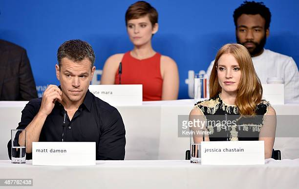 Actors Matt Damon Kate Mara Jessica Chastain and Donald Glover speak onstage during the 'The Martian' press conference at the 2015 Toronto...