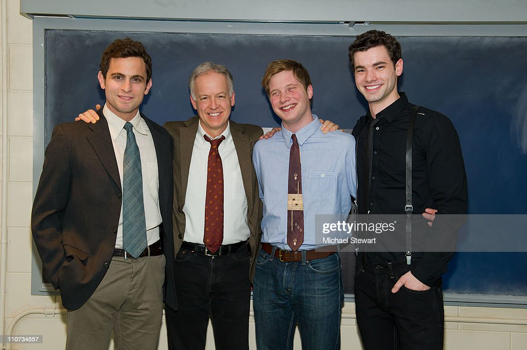 Actors Matt Dellapina, Reed Birney, Josh Caras and Jake O'Connor attend the opening night of 'The Dream of the Burning Boy' at Roundabout Theatre Company Black Box Theatre on March 23, 2011 in New York City.