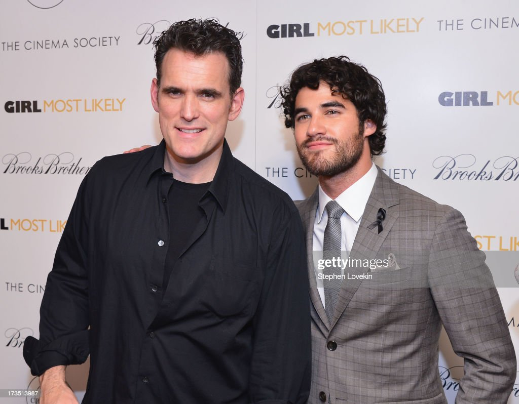 Actors <a gi-track='captionPersonalityLinkClicked' href=/galleries/search?phrase=Matt+Dillon+-+Actor&family=editorial&specificpeople=202099 ng-click='$event.stopPropagation()'>Matt Dillon</a> and <a gi-track='captionPersonalityLinkClicked' href=/galleries/search?phrase=Darren+Criss&family=editorial&specificpeople=7341435 ng-click='$event.stopPropagation()'>Darren Criss</a> attend the screening of Lionsgate and Roadside Attractions' 'Girl Most Likely' hosted by The Cinema Society & Brooks Brothers at Landmark's Sunshine Cinema on July 15, 2013 in New York City.