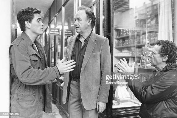 Actors Matt Dillon and Gene Hackman on the set of the film 'Target' directed by Arthur Penn